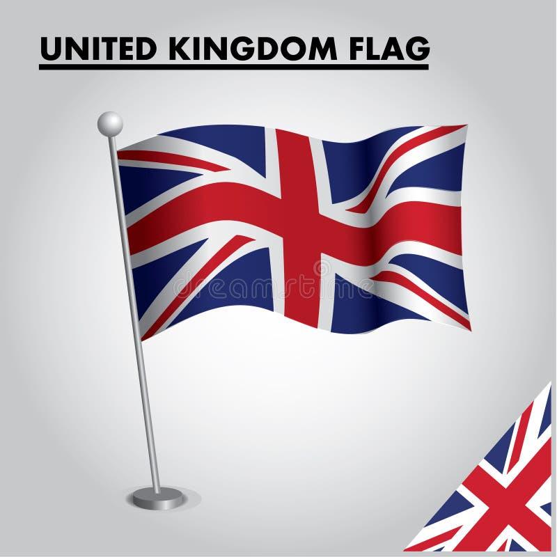 Flagge VEREINIGTEN KÖNIGREICHS Staatsflagge von VEREINIGTEM KÖNIGREICH auf einem Pfosten lizenzfreie abbildung