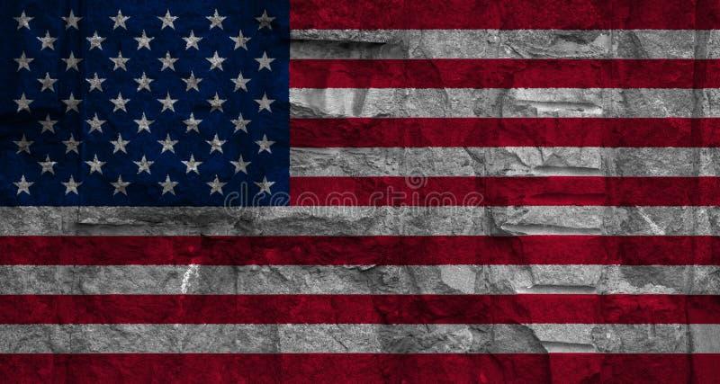 Flagge von Amerika auf Hintergrundsteinwandbeschaffenheit stock abbildung