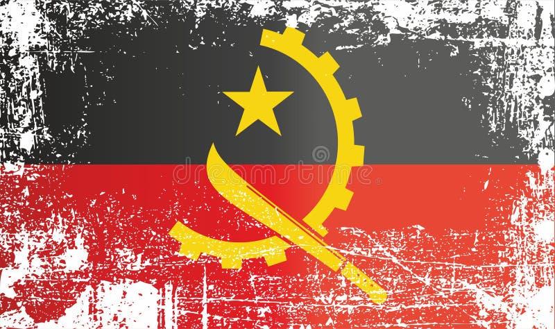 Flagge von Angola, Republik Angola, geknitterte schmutzige Stellen lizenzfreie abbildung