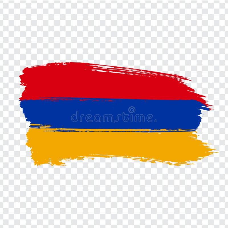 Flagge von Armenien von den Bürstenanschlägen Flagge Republik Armenien auf transparentem Hintergrund für Ihren Websiteentwurf, Lo vektor abbildung