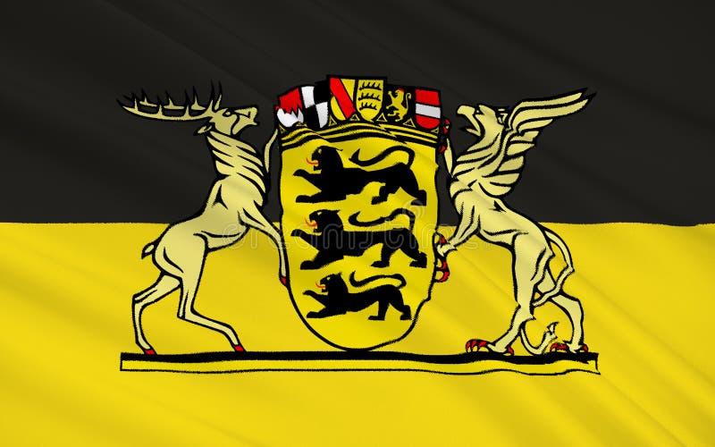 Flagge von Baden-Wurttemberg - das Land von Deutschland lizenzfreie abbildung