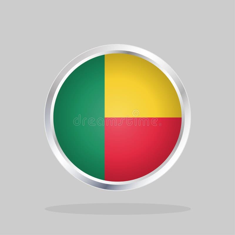 Flagge von Benin, glatter runder Knopf vektor abbildung