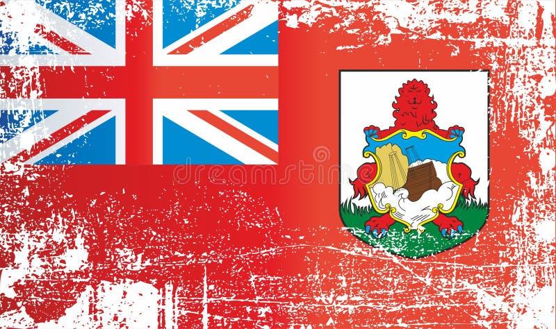 Flagge von Bermuda, britische Überseegebiete Geknitterte schmutzige Stellen stock abbildung