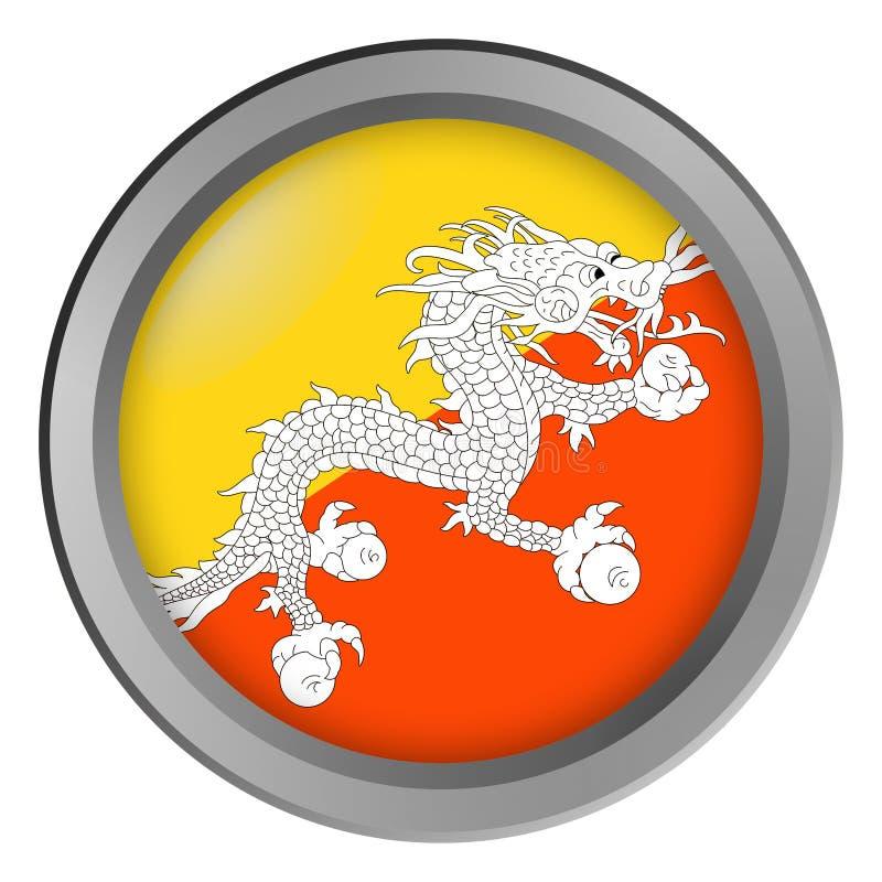 Flagge von Bhutan-Runde als Knopf vektor abbildung
