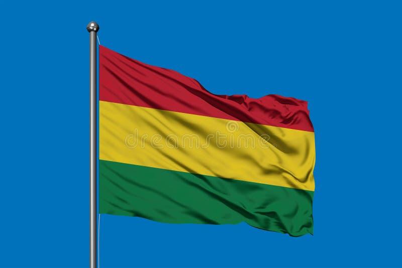Flagge von Bolivien wellenartig bewegend in den Wind gegen tiefen blauen Himmel Bolivianische Markierungsfahne stockfotografie