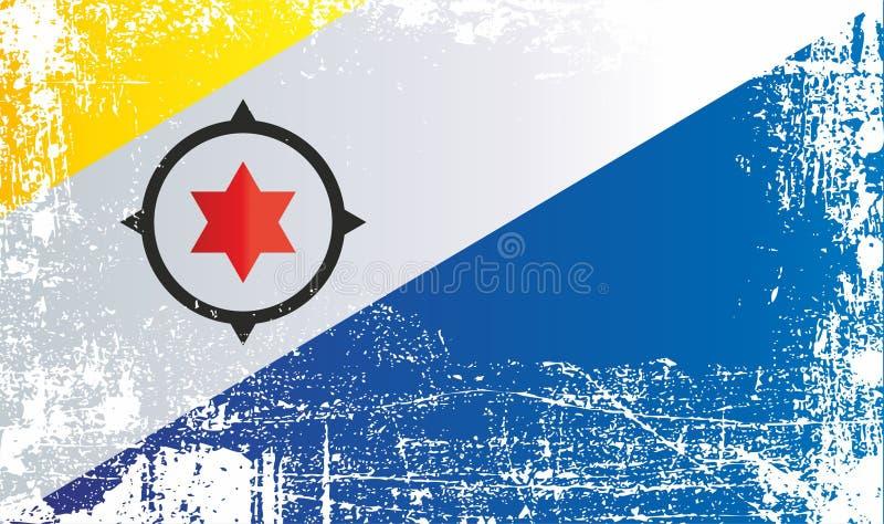 Flagge von Bonaire, die Niederlande Geknitterte schmutzige Stellen vektor abbildung