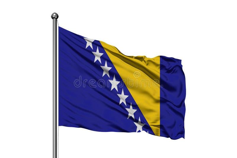 Flagge von Bosnien Herzegovina wellenartig bewegend in den Wind, lokalisierter weißer Hintergrund Bosnische Markierungsfahne stockfoto