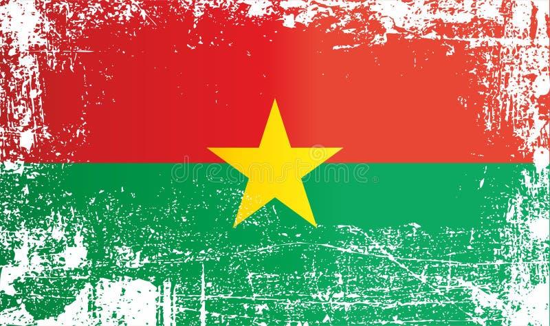 Flagge von Burkina Faso, Afrika Geknitterte schmutzige Stellen stock abbildung