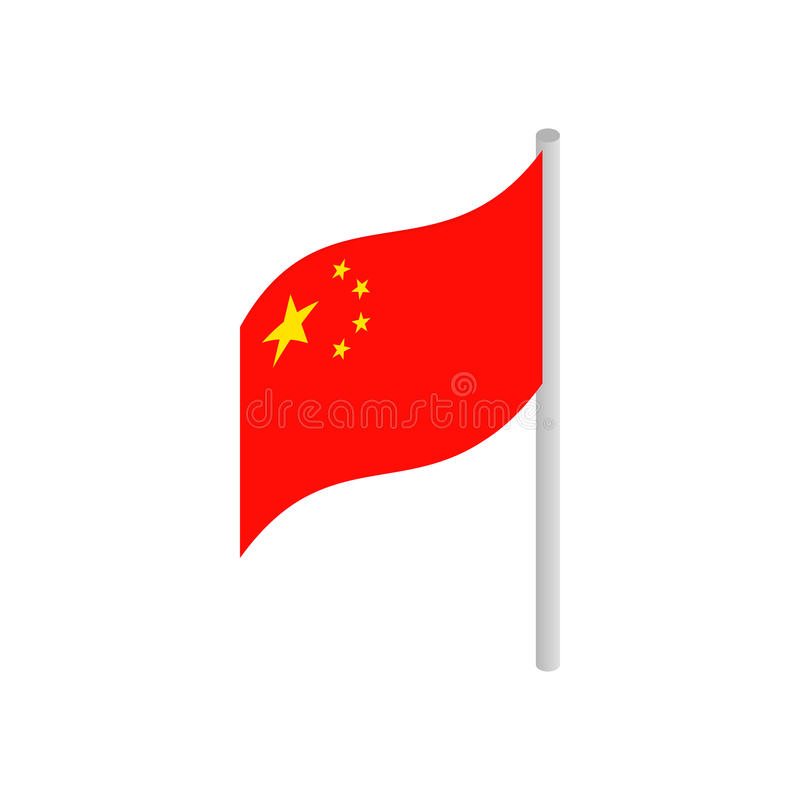 Flagge von China-Ikone, isometrische Art 3d vektor abbildung