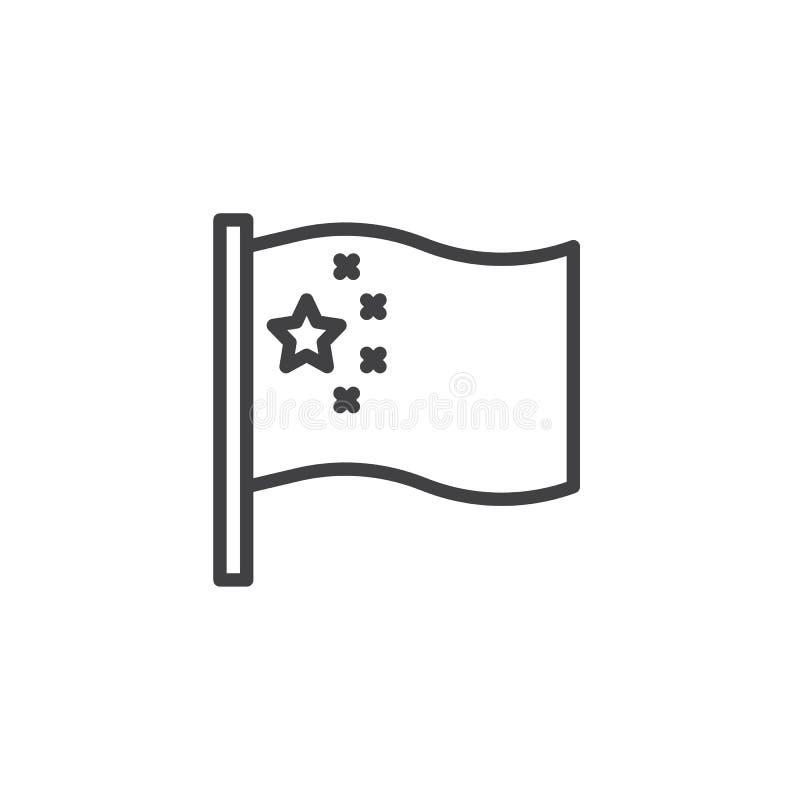 Flagge von China-Linie Ikone lizenzfreie abbildung