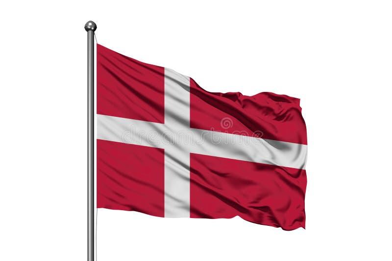 Flagge von Dänemark wellenartig bewegend in den Wind, lokalisierter weißer Hintergrund D?nische Markierungsfahne stock abbildung