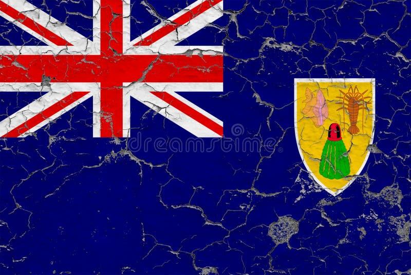 Flagge von den Turks- und Caicosinseln gemalt auf gebrochener schmutziger Wand Nationales Muster auf Weinleseartoberfl?che vektor abbildung