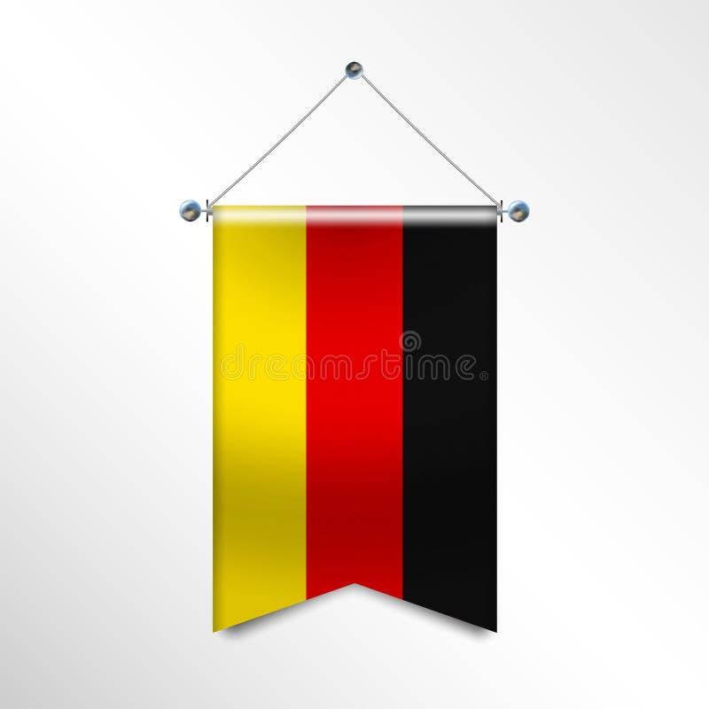 Flagge von Deutschland mit Beschaffenheit Nationale Fahne Flagge, die an silberne metallische Polen hängt Vertikale Schablone des lizenzfreie abbildung
