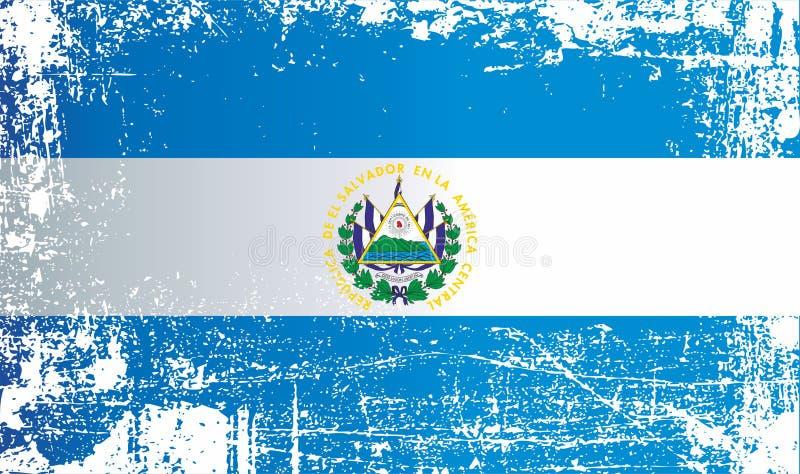Flagge von El Salvador Geknitterte schmutzige Stellen vektor abbildung