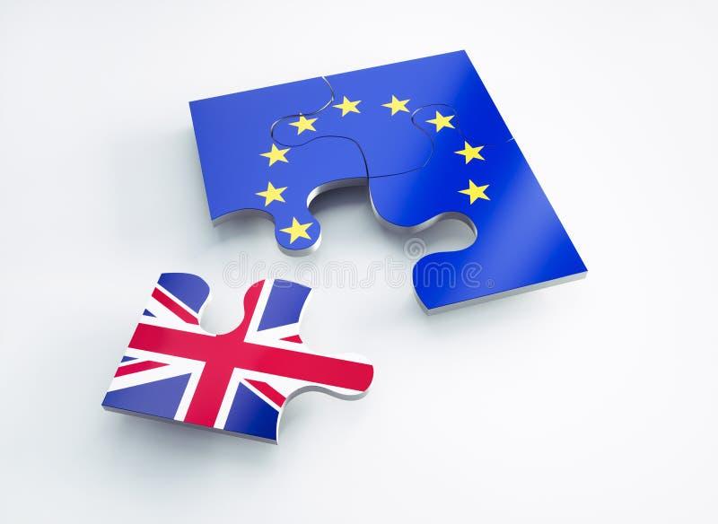 Flagge von Europa und von England teilte Puzzlespielstücke lizenzfreie abbildung