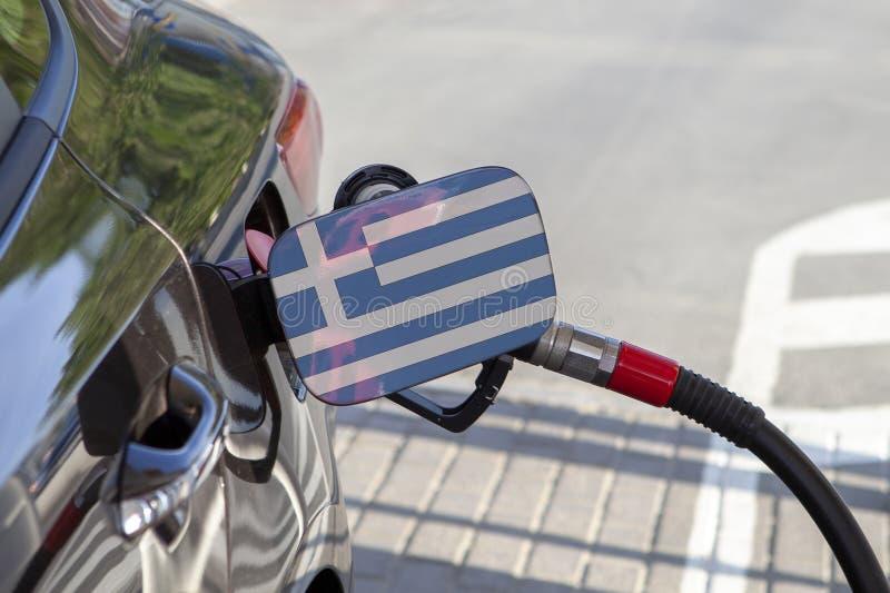Flagge von Griechenland auf der Auto ` s Brennstoff-Füllerklappe lizenzfreies stockfoto