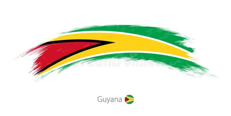 Flagge von Guyana in gerundetem Schmutzbürstenanschlag stock abbildung