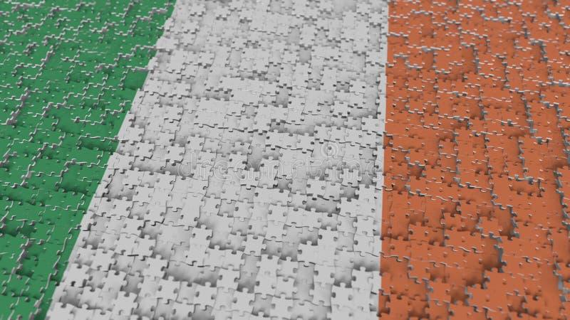 Flagge von Irland, das mit Puzzlestücken gemacht wird Begriffs-Wiedergabe 3D der irischen Problemlösung stock abbildung