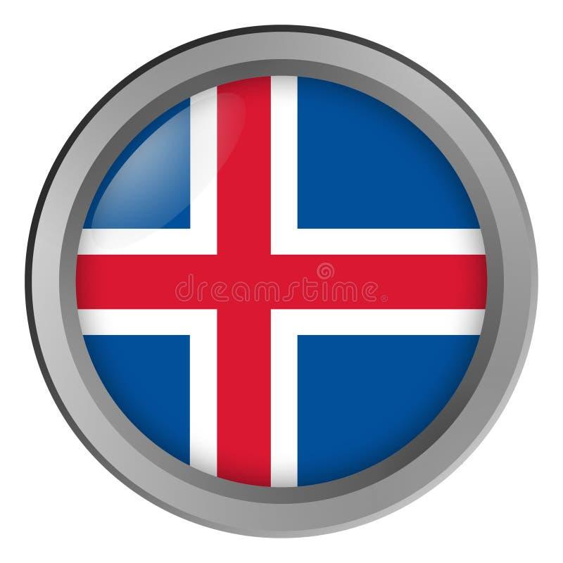 Flagge von Island-Runde als Knopf lizenzfreie abbildung