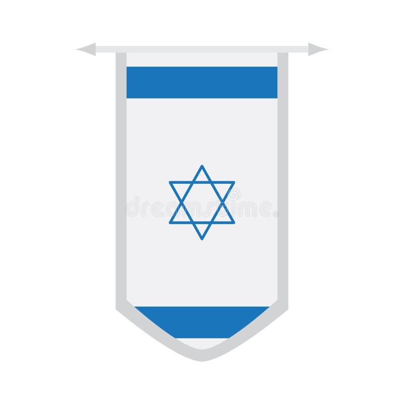 Flagge von Israel auf einer Fahne stock abbildung