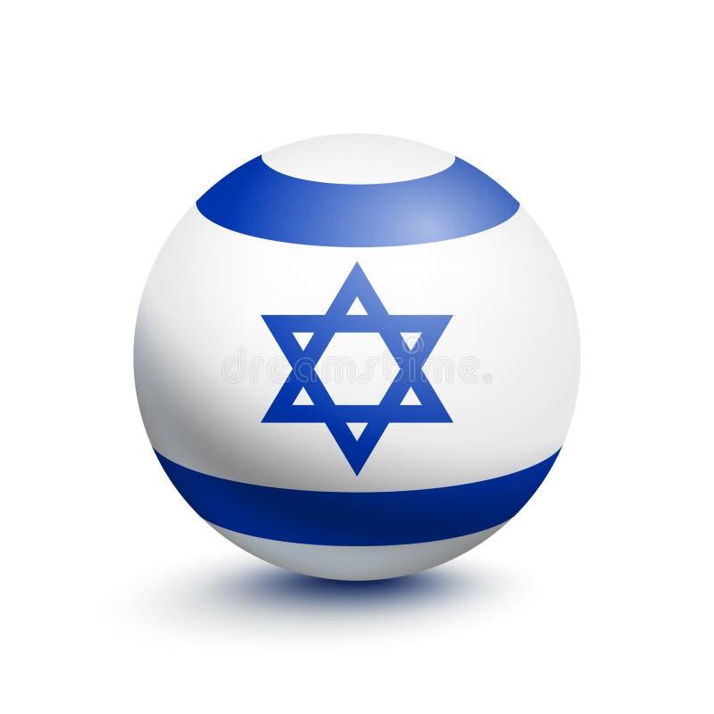 Flagge von Israel in Form eines Balls lizenzfreie abbildung