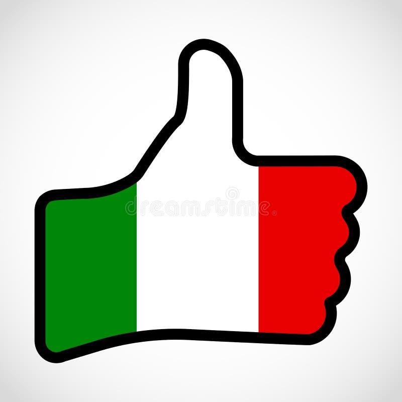Flagge von Italien in Form der Hand mit dem Daumen oben, Geste vektor abbildung