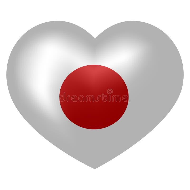 Flagge von Japan in der Herzform Auch im corel abgehobenen Betrag stock abbildung