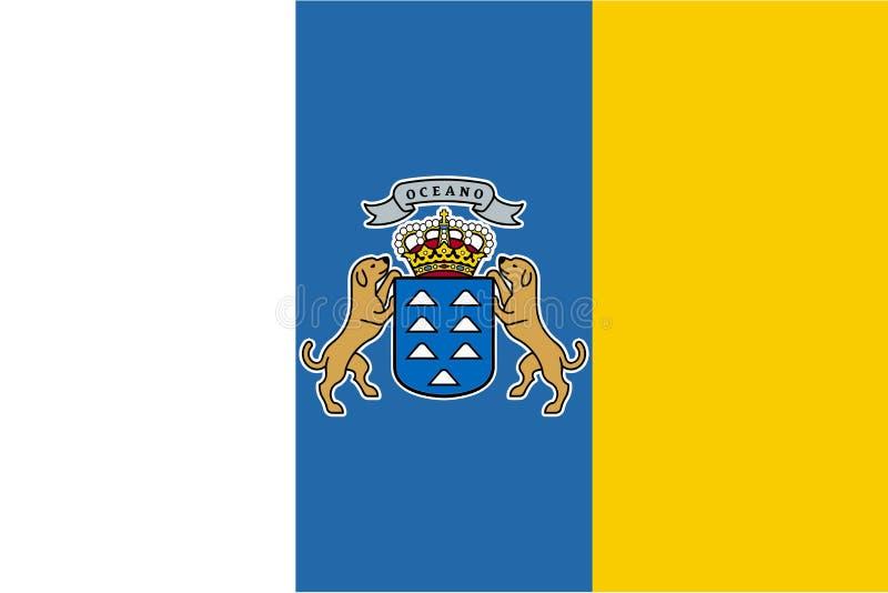 Flagge von Kanarischen Inseln im Beamten, Vektor lizenzfreie abbildung