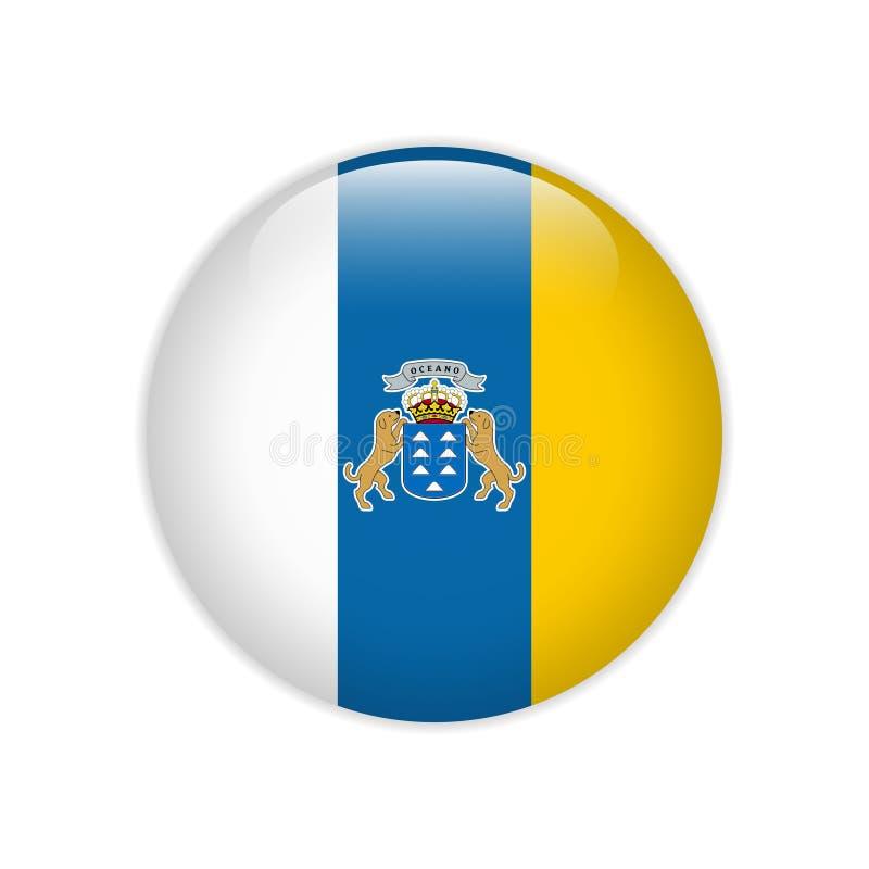Flagge von Kanarischen Inseln knöpfen lizenzfreie abbildung