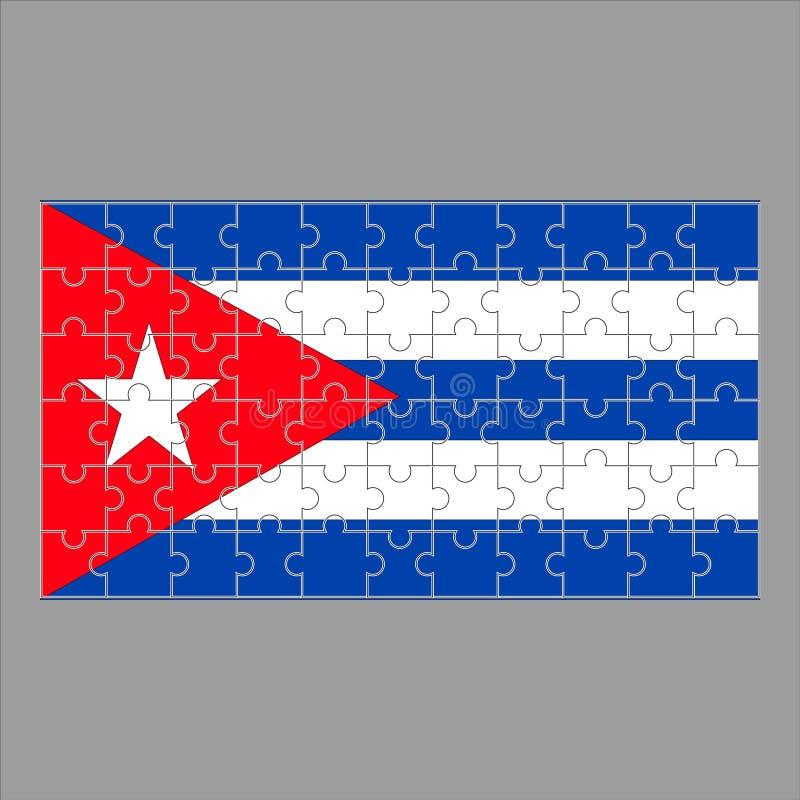 Flagge von Kuba-Puzzlespielen auf einem grauen Hintergrund stock abbildung