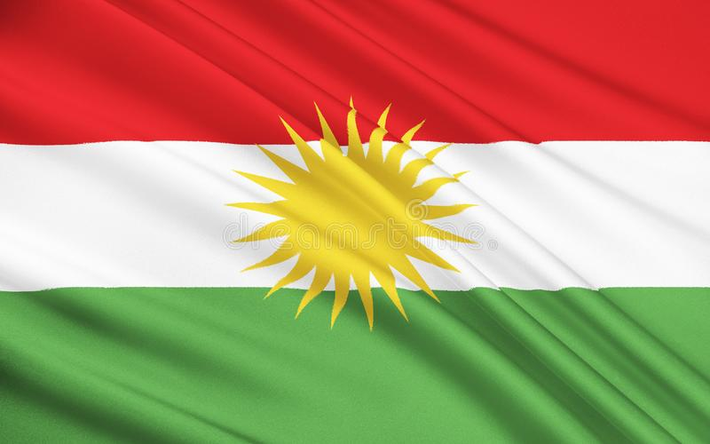 Flagge von Kurdistan - ethno-geographischer Bereich im Nahen Osten lizenzfreie abbildung