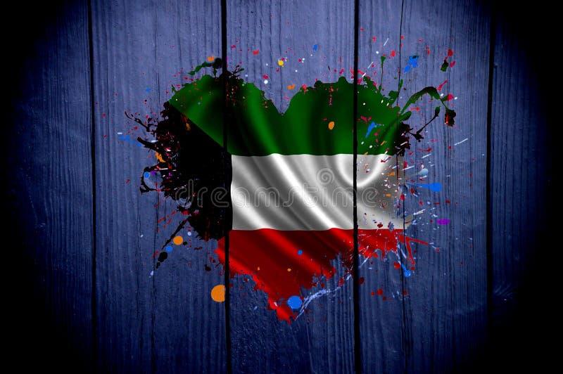 Flagge von Kuwait in Form des Herzens auf einem dunklen Hintergrund lizenzfreie stockbilder
