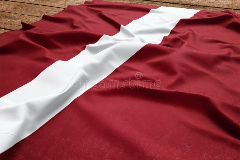 Flagge von Lettland auf einem h?lzernen Schreibtischhintergrund Draufsicht der lettischen Flagge der Seide stockbilder