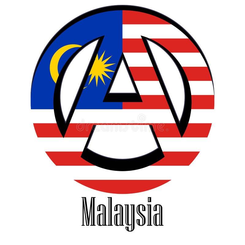 Flagge von Malaysia der Welt in Form eines Zeichens der Anarchie lizenzfreie abbildung