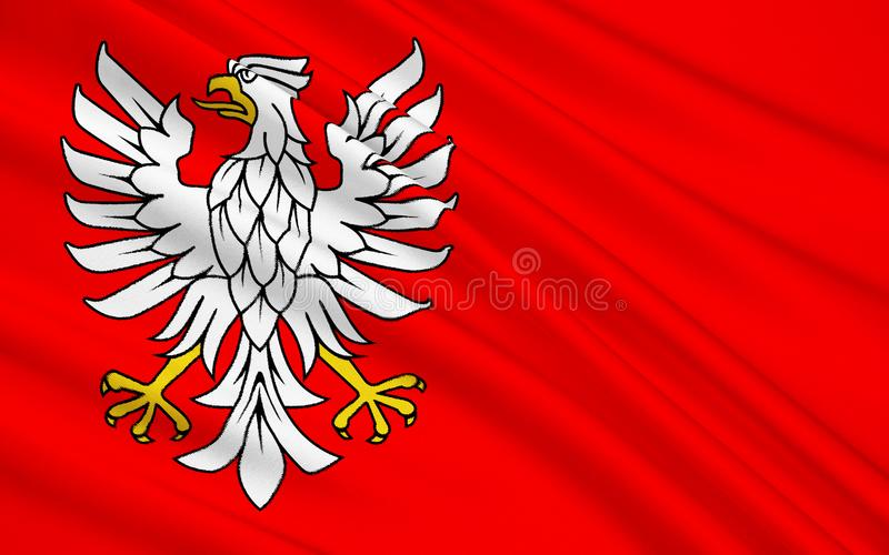 Flagge von Masovian Voivodeship oder Woiwodschaft Masowien in Ost-Pola stockbilder