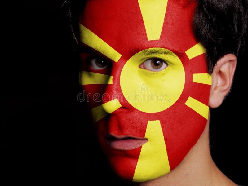 Flagge von Mazedonien stockfotos