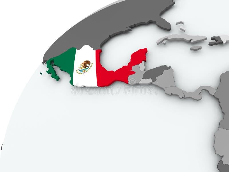 Flagge von Mexiko auf grauer Kugel vektor abbildung