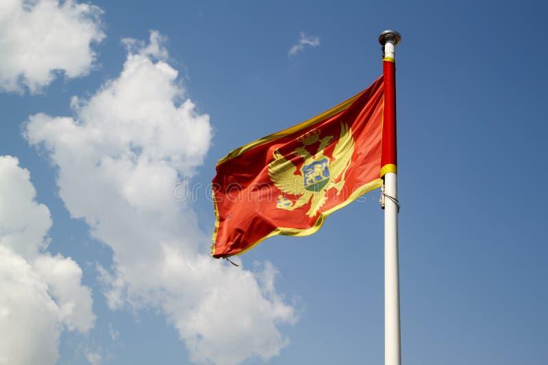 Flagge von Montenegro gegen blauen Himmel stockbilder