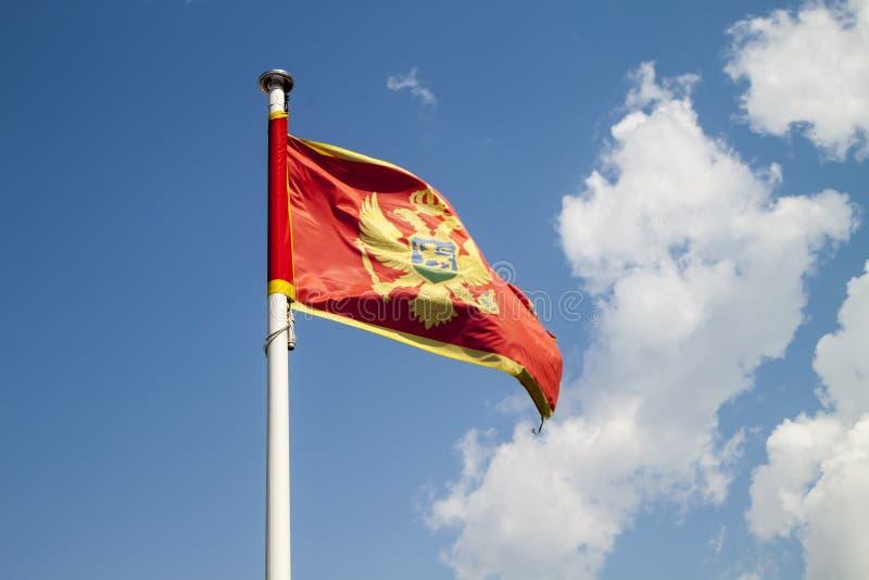 Flagge von Montenegro gegen blauen Himmel stockfotografie