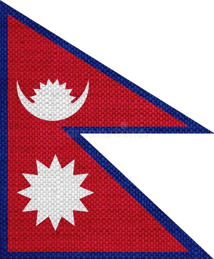 Flagge von Nepal auf altem Leinen stockbild