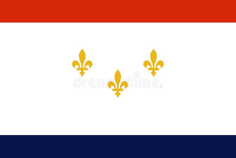 Flagge von New Orleans, Louisiana, die Vereinigten Staaten von Amerika Auch im corel abgehobenen Betrag stock abbildung