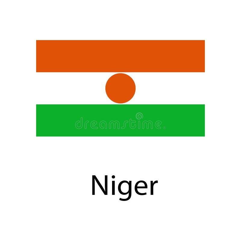 Flagge von Niger mit Namenikone Offizielle Farben und Anteil richtig Nationaler Niger Flag Niger-Flaggenillustration eingebürgert stock abbildung