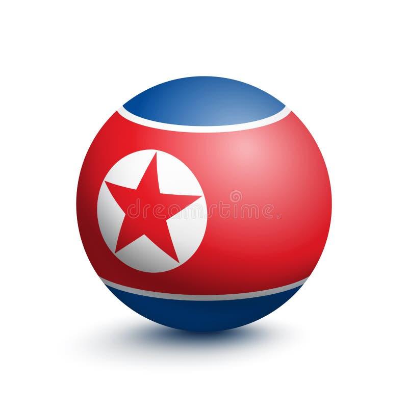 Flagge von Nordkorea in Form eines Balls vektor abbildung