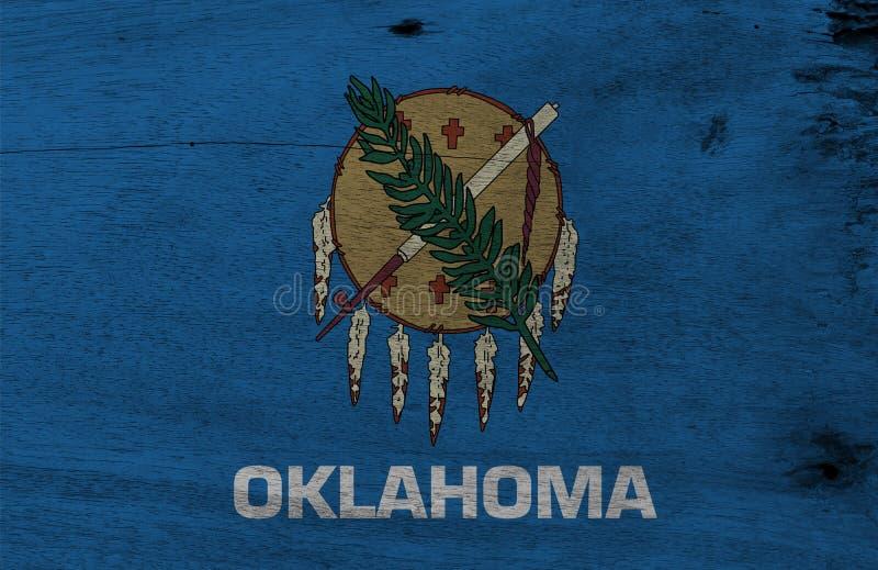 Flagge von Oklahoma auf hölzernem Plattenhintergrund Schmutz-Oklahoma-Flaggenbeschaffenheit, die Staaten von Amerika stock abbildung