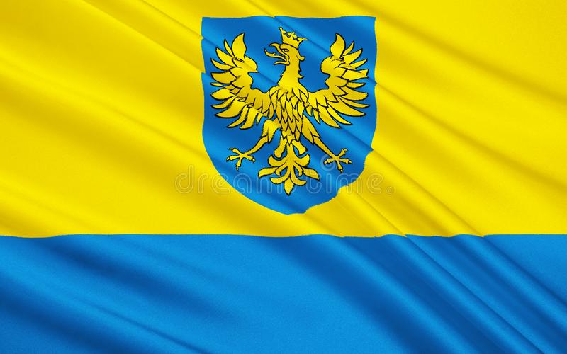 Flagge von Opole Voivodeship in Polen stockfotografie