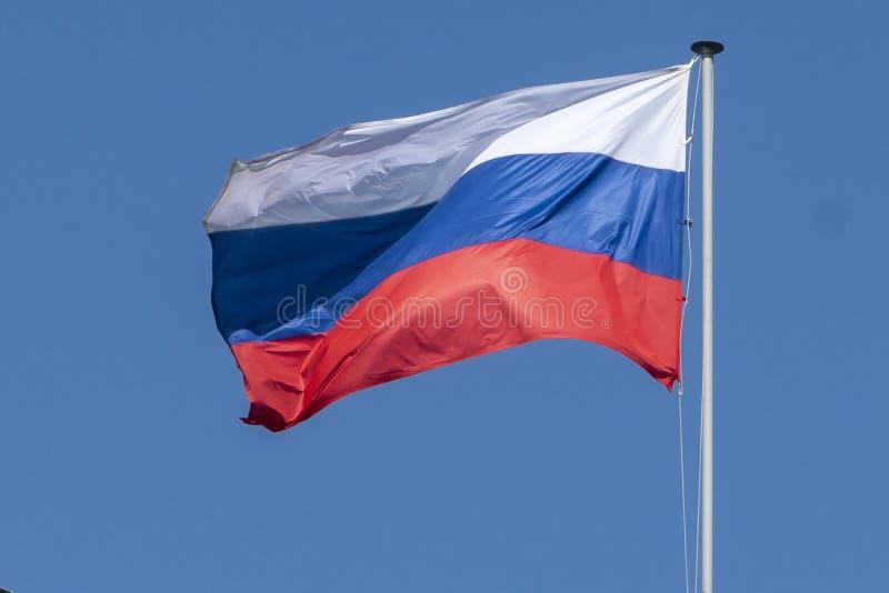 Flagge von Russland, die Russische F?deration, die Trikolore gegen den blauen Himmel entwickelt sich im Wind stockfotografie
