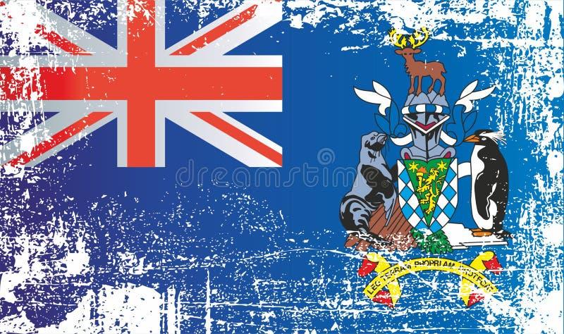 Flagge von Südgeorgien und die Südlichen Sandwichinseln, britische Überseegebiete Geknitterte schmutzige Stellen stock abbildung