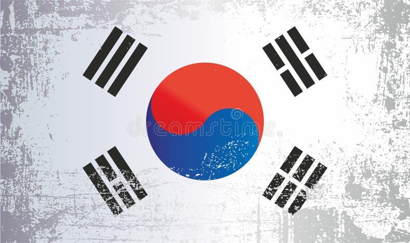 Flagge von Südkorea, Republik Korea, geknitterte schmutzige Stellen lizenzfreie abbildung
