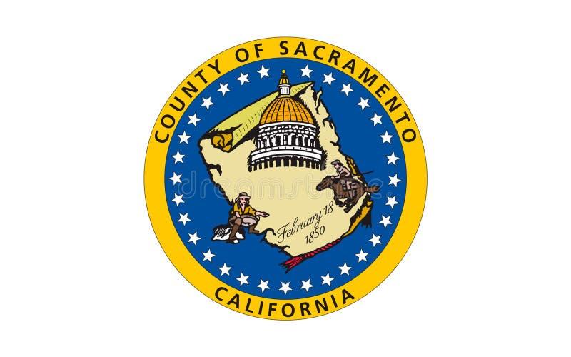 Flagge von Sacramento County, Kalifornien, USA lizenzfreies stockbild