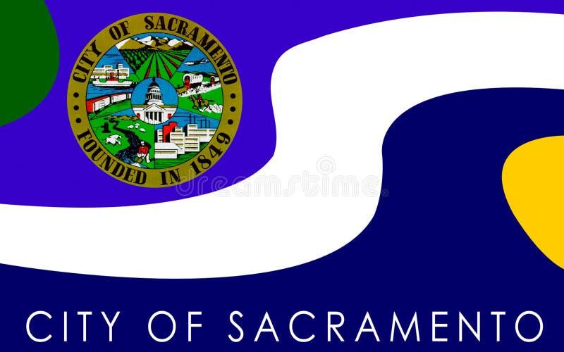 Flagge von Sacramento, Kalifornien, USA stockfoto